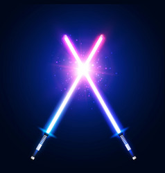 Blue and pink crossing laser sabers war vector