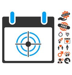 Bullseye calendar day icon with valentine bonus vector