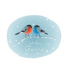Christmas Bullfinch Birds in Love Sitting on Twig vector image vector image