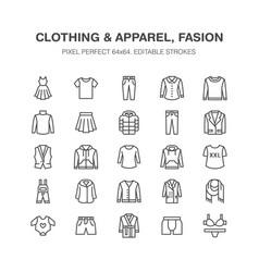 Clothing fasion flat line icons men women vector