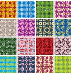 Colorful retro style tiles seamless patterns set vector image vector image