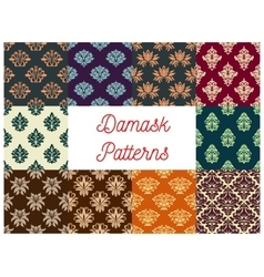 Damask floral seamless patterns set vector image