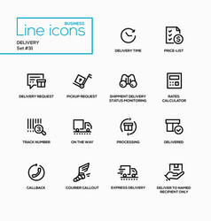 delivery - modern single line icons set vector image vector image