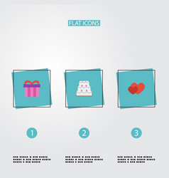Flat icons present love patisserie and other vector