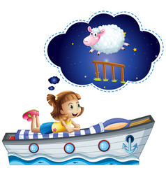 Girl dreaming on bed shaped of ship vector