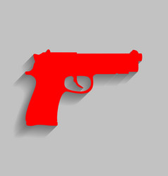gun sign red icon with soft vector image vector image