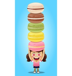 happy woman carrying big macaroons or macarons vector image vector image