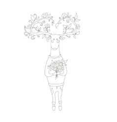 Hipster deer in love vector