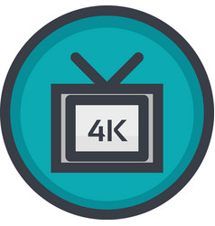 Icon of 4k video quality on button in flat vector