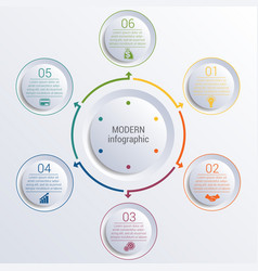 Infographic diagram with 6 options circles vector