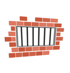 Jail cartoon prison grill and wall window in vector