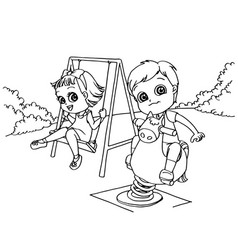 Kids at the playground cartoon coloring page vector