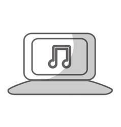 Laptop with music icon image vector
