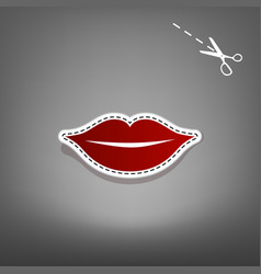 Lips sign red icon with for vector