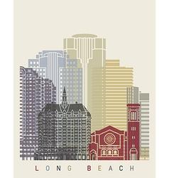 Long Beach skyline poster vector image