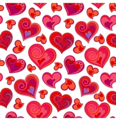 Love hearts seamless pattern Cute doodle heart vector image