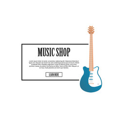 music shop banner with classic acoustic guitar vector image