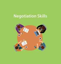 Negotiation skills with four people vector