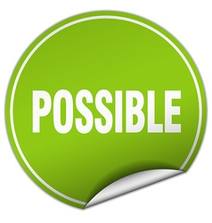 possible round green sticker isolated on white vector image vector image