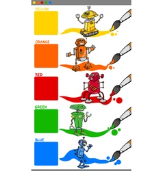 Primary colors with cartoon robots vector
