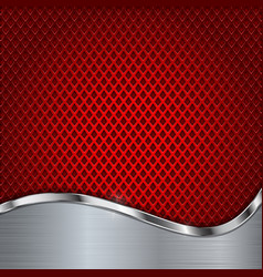 red metal perforated background with chrome vector image