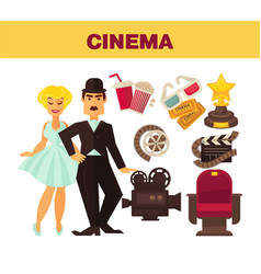 retro cinema movie cinematography poster of actors vector image