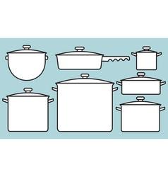 Saucepans set vector