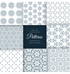 Set of floral style patterns set in different vector