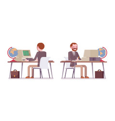 Set of male teacher working at desk rear front vector