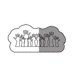 silhouette hands up together icon vector image vector image