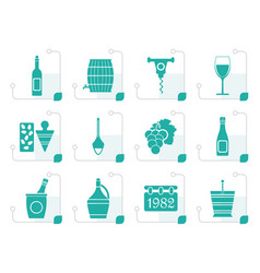 Stylized wine icons vector