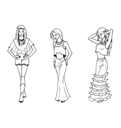 three beautiful fashion vector image vector image