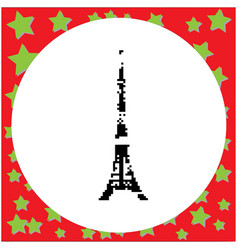 Tokyo tower the tallest building of japan black vector