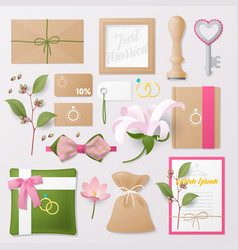 Wedding salon corporate identity template set vector