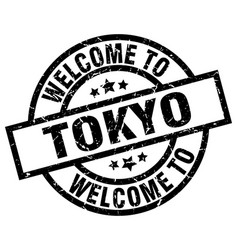 Welcome to tokyo black stamp vector
