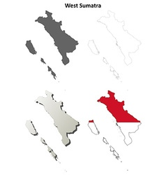 West Sumatra blank outline map set vector image vector image
