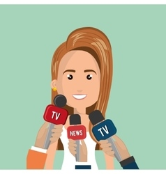 Woman avatar and news microphones vector