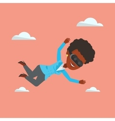 Woman in vr headset flying in the sky vector