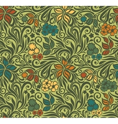 Decorative floral retro seamless background vector image