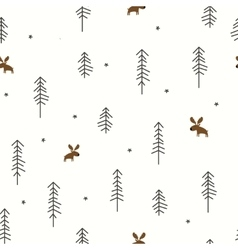 Winter Forest with a Moose vector image
