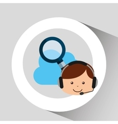 Guy operator help service search cloud vector