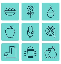 Set of 9 agriculture icons includes fire tube vector
