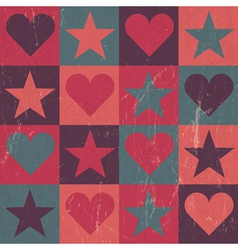 Hearts and stars seamless pattern pink vector