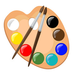 paint palette with brushes vector image