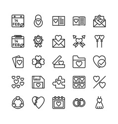 Love and valentine line icons 13 vector