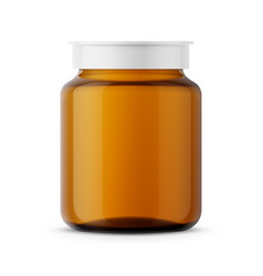 amber glass medicine bottle template vector image