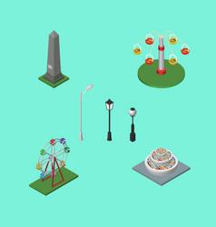isometric urban set of swing attraction vector image