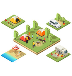 Isometric camping territory composition vector