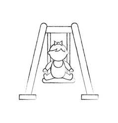Cute girl baby on swing avatar character vector