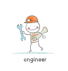 engineer comes with a key and paper vector image